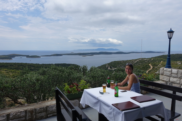 Great views of Croatian coast from restaurant on Hvar