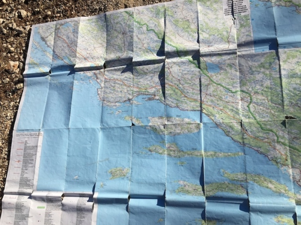 well worn map of Croatia