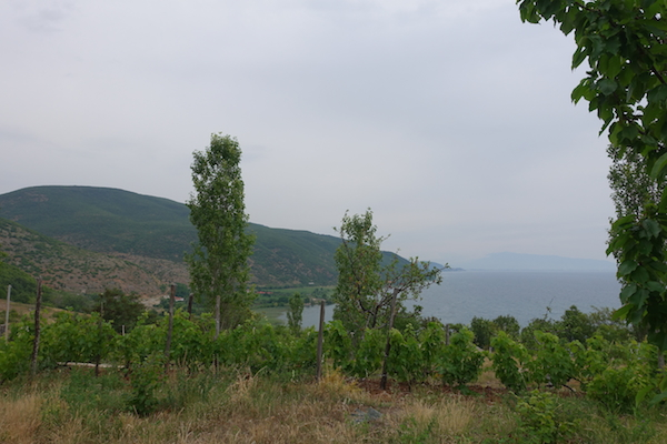 Camp site with view in Albanian hills Lake Ohrid