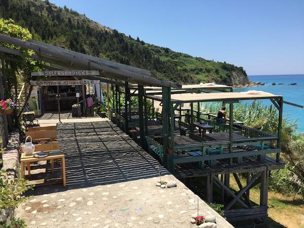 Cool bar clinging to hillside Lefkada