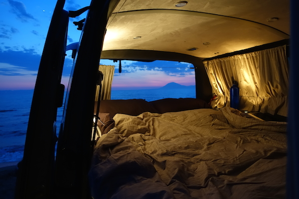Greek sunset in camper van