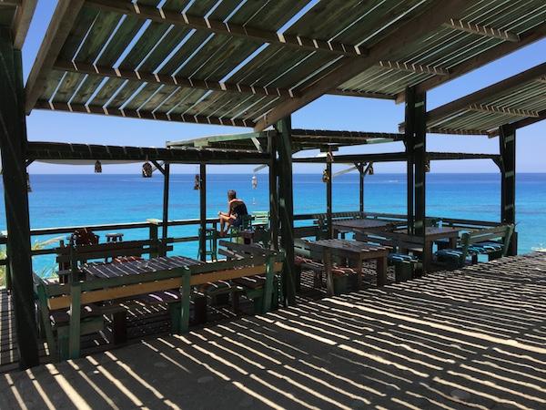 Quiet bar on hillside by beach Lefkada