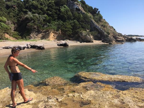 Rock pools in sunshine on Kastro beach