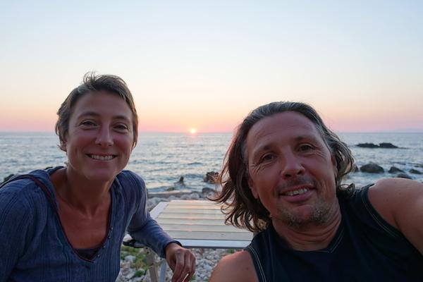 selfie portrait wild camping Lefkada beach