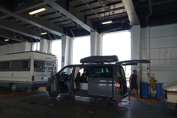 VW camper van on ferry