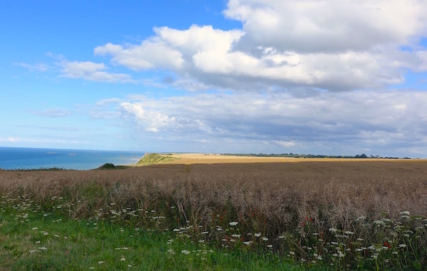 Camping on Normandy Coast with Mulberry harbour Aromanches distant