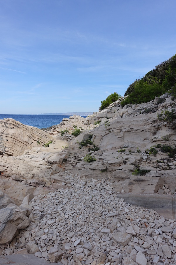craggy shore line stone scree Croatia