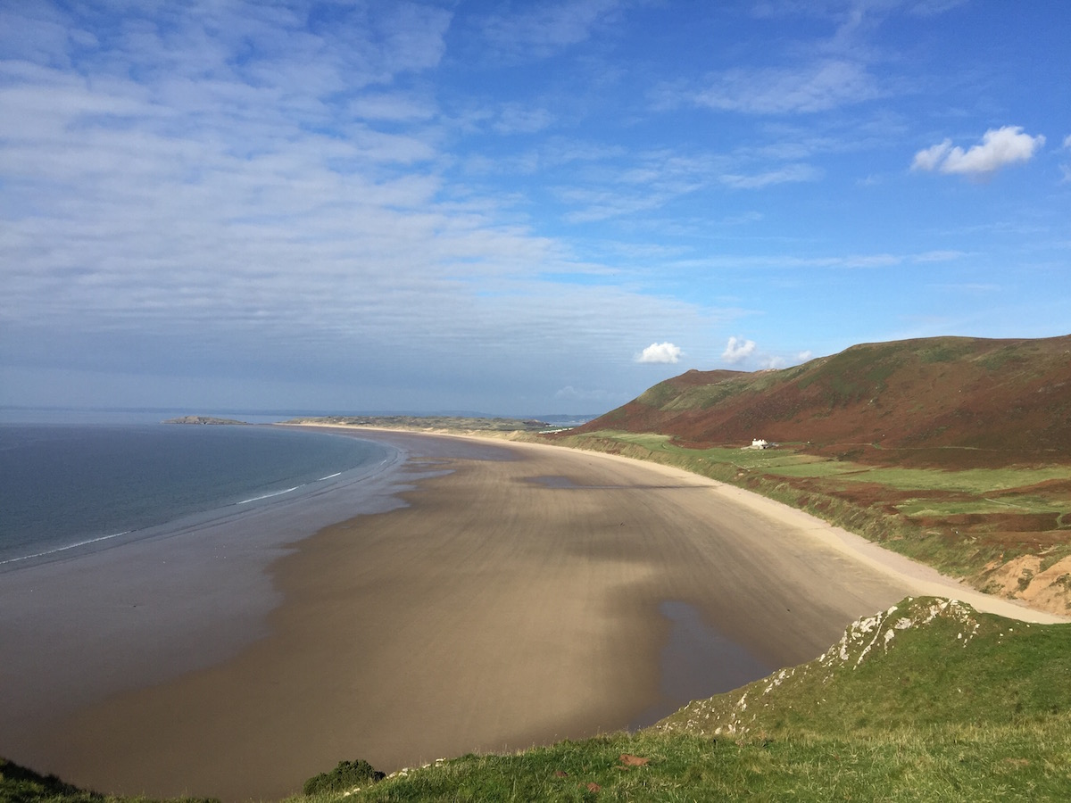 Beautiful deserted Rhossili Bay Beach Gower